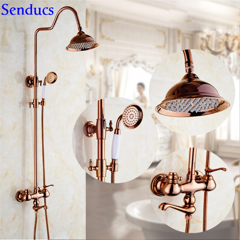 Senducs Rose Gold Shower Set Solid Brass Gold Bathroom Shower Faucet Rainfall Golden Shower Sets With 8 Inch Top Shower System dofaso luxury rose gold copper shower faucet bathroom antique shower set 8 rainfall shower kit bath brass shower system chrome