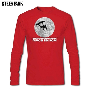 Fashion Men Wakeboard Follow The Rope T Shirt Clothes Adult 100% Cotton Abstract Long Sleeve Tshirt For Men's 1