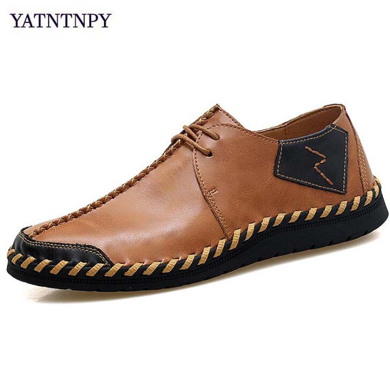 YATNTNPY Brand Men Shoes New Handmade Shoes Genuine Leather Shoes Plus Big Size 3--47 Man Sneakers Casual flat Moccasins new 2017 summer brand casual men shoes mens flats luxury genuine leather shoes man breathing holes oxford big size leisure shoes