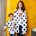 Осень Новый Дизайн Дети Cothing Нагрудные Точка Длинный Абзац Пальто Модные Дети Мать И Дети Теплый Ветровка