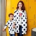 Otoño Nuevo Diseño Niños Cothing Solapa Punto Párrafo Largo Abrigo Niños de la Manera de La Madre Y Los Niños Cazadora Caliente