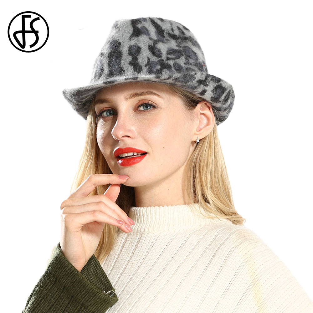 6c1246c745687 ... FS Gray Wool Leopard Print Wide Brim Fedora Hat For Lady Royal Vintage  Church Hats Women ...