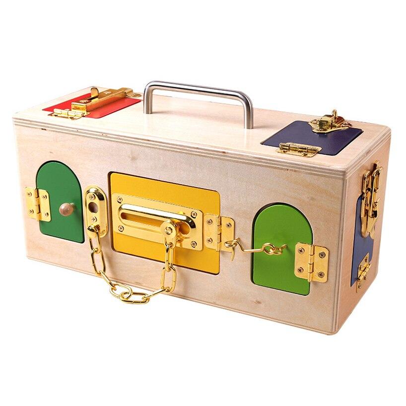 2019 Montessori matériaux en bois boîte de verrouillage et déverrouillage outils pédagogiques Enfants L'apprentissage jouet éducatif materiales montesori