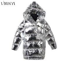 LXUNYI New Winter Bright Metal Parka Jacket Women Loose Warm Thick Long Feminine Coat Female Jackets Silver Hooded Outwear Black