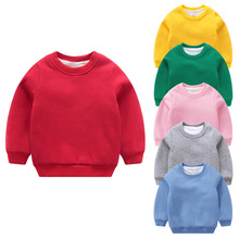 Winter Children Clothes Thick Long Sleeve Hoodie Kids Solid Color Blank for Boys and Girls Pullovers Blue Pink Yellow Orange