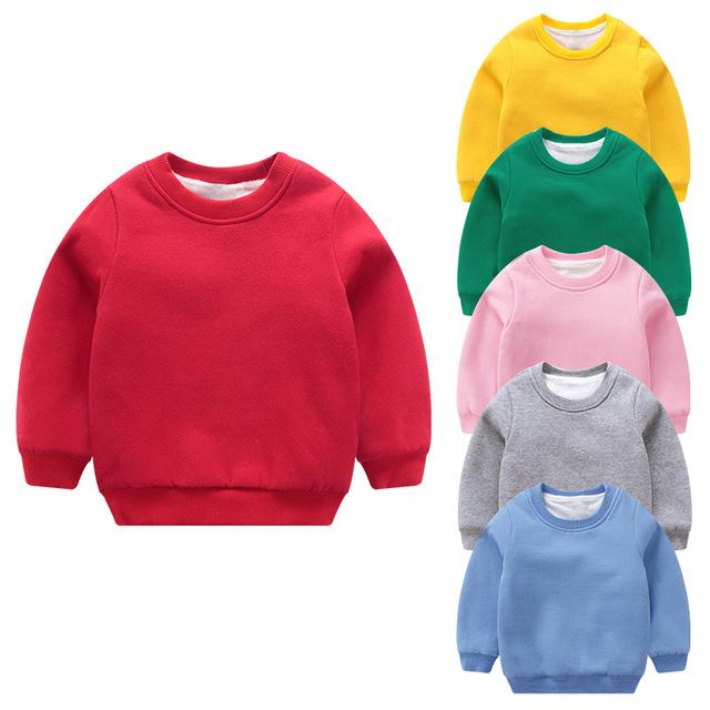 add7e6b0ae38 Winter Children Clothes Thick Long Sleeve Hoodie Kids Solid Color ...