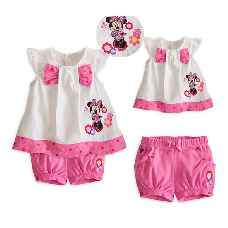 Summer 2017 Conjuntos Minnie T Shirt Shorts Baby Girls' Clothing Sets Roupas Infantil Meninas Kids Clothes Toddler Girl Clothing платье для девочек 2015 roupas infantil meninas dress003