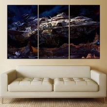 Planet Spaceship Oil Style Paintiing 3 Piece Modular Picture Modern Canvas Print Type Home Decor Wall Artwork Poster