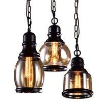 Антикварная люстра ресторан творческий Nordic стеклянная бутылка железной art лампа