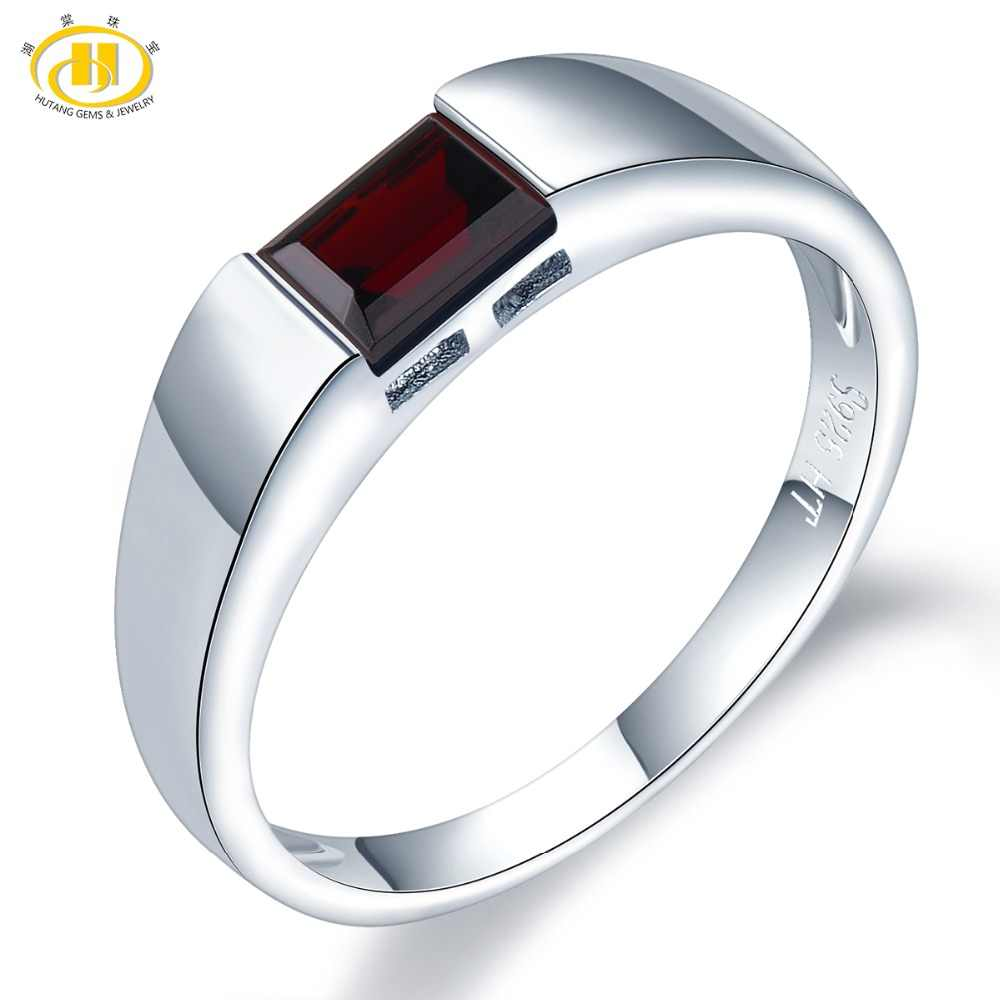HUTANG Natural Gemstone Rings 6x4mm Black Garnet 925 Silver Ring Emerald Cut Fine Stone Jewelry for Women's Men's Best Gift New