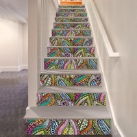 6 Pcs Lot 3D Refurbished Stair Stickers Decals Self Adhesive Removable Waterproof Stairs Corridor Mural Home