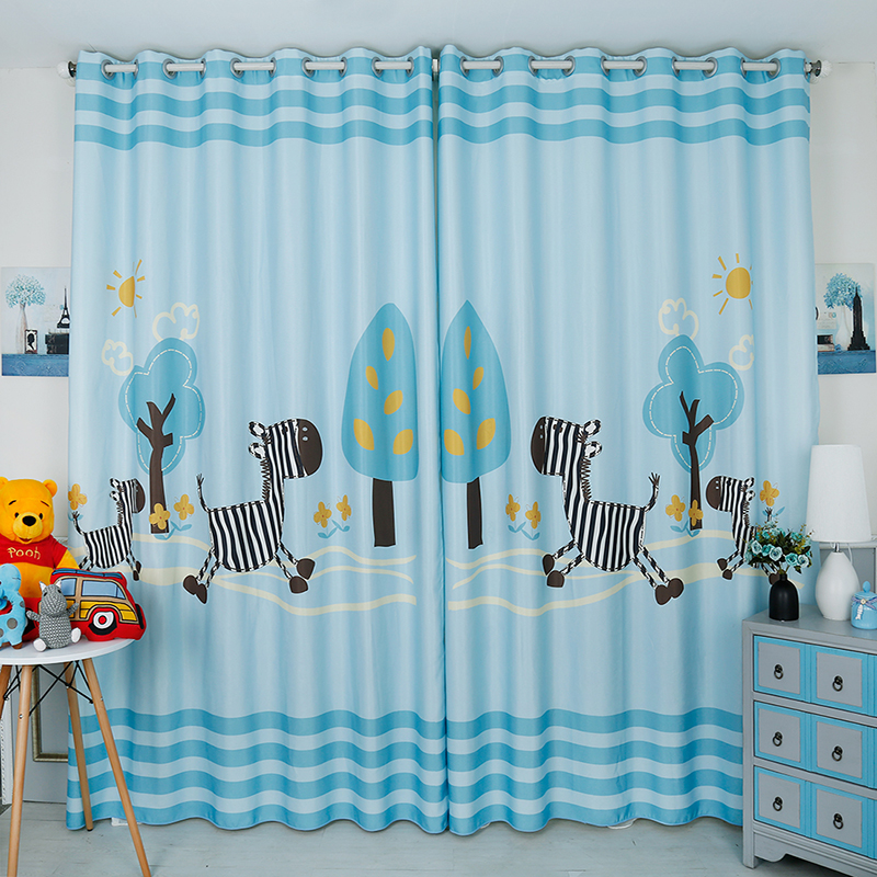 Custom Made 2pcs Grommet Drapery Drape Curtain Nursery Kids Children Room Window Dressing 200cm x 260cm Blue Trees Horses Pony