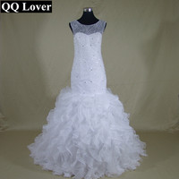 QQ Lover African Fashional Mermaid Wedding Dress  Full Beaded Vestido De Noiva Sereia Sheer Back and Neck Ruffles Ball Gown