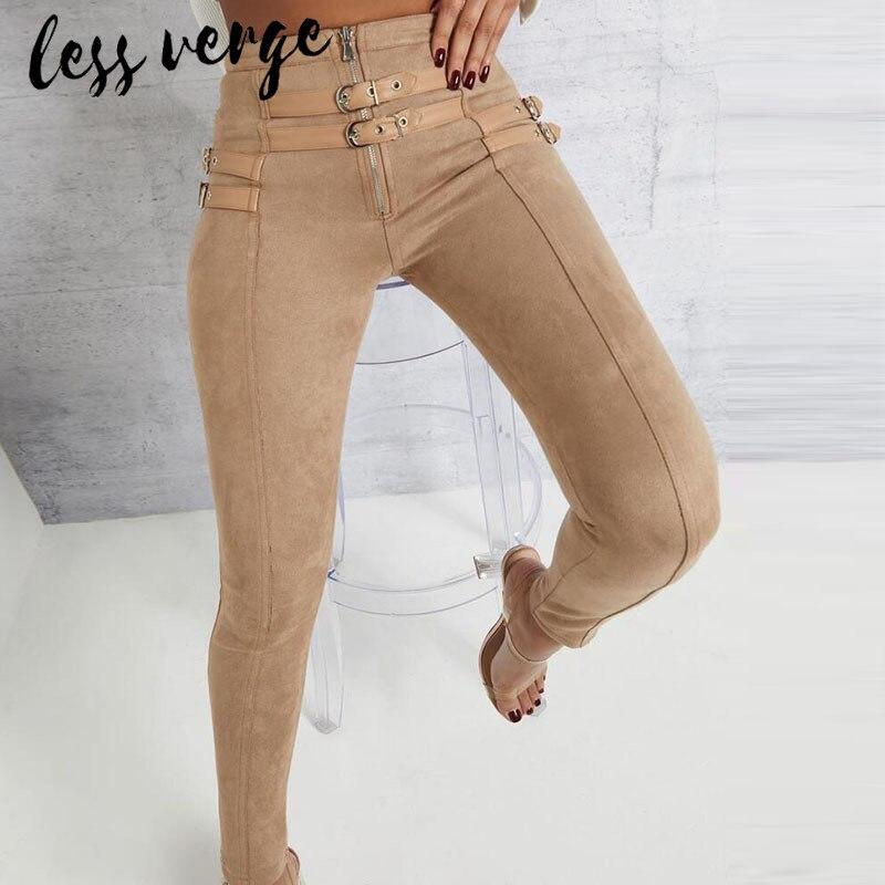 lessverge Suede leather casual   pants   women Zipper belt high waist skinny pencil   pants   Long black autumn   capris     pants   trousers