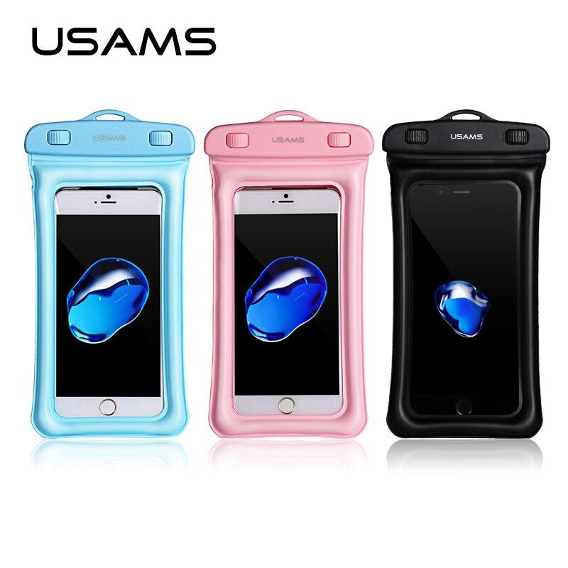 USAMS Водонепроницаемый мешок мобильного телефона прозрачный Touchable Сумка Пляжная водителя подводный телефон сумка для samsung iPhone X 8 7 6 и плюс