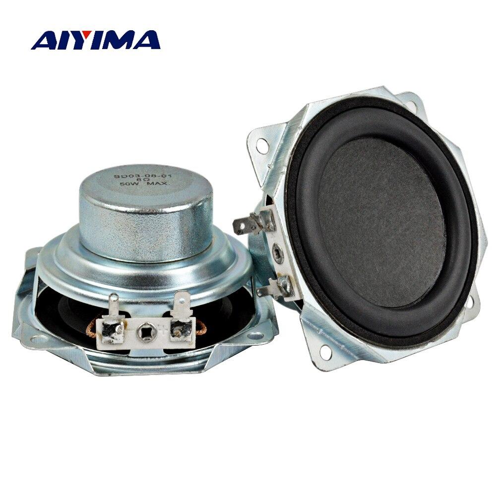 Aiyima 2PC 3Inch Audio Speaker 8Ohm 50W Neodymium Magnetic 30 Core Speakers Midrange Bass Rubber Edge Loudspeaker DIY