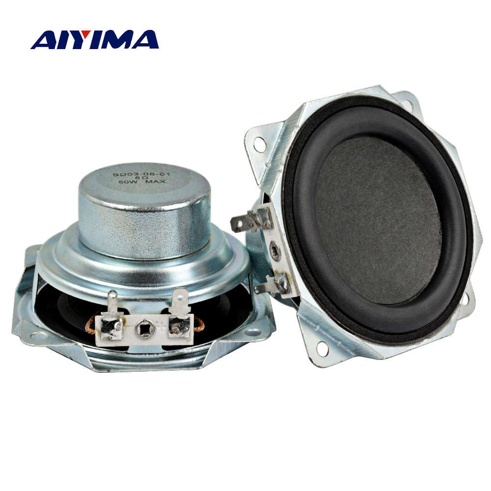 Aiyima 2PC 3Inch Audio Speaker 8Ohm 50W Neodymium Magnetic 30 Core Speakers Midrange Bass Rubber Edge Loudspeaker DIY цена 2017