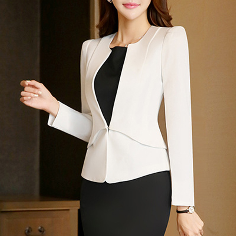2017 Slim Spring Autumn Women V Neck Long Sleeve Blazer Work Office Lady Business Outwear Tops Casual Coat Jacket White Blazers