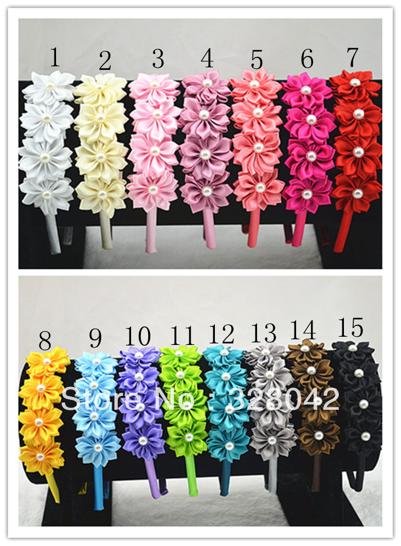Trail Order Satin Ribbon Flower Hairband Multilayers Diy Flower With