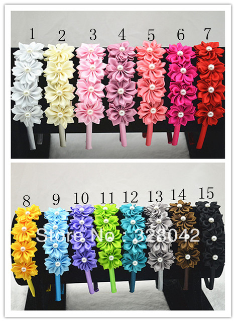 Trail order satin ribbon flower hairband Multilayers DIY Flower with pearl centre headband 20 pcs/lot