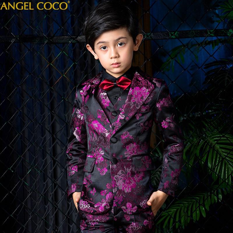 Costume violet pour garçon costumes pour mariages Terno Infantil Costume Enfant Garcon Mariage Disfraz Infantil garçons costumes enfants Costume formel