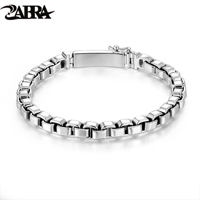 b8d6f2427a700f ZABRA 925 Sterling Silver Box Chain 6mm Bracelet Mens Women Thai Silver  Vintage Punk Handmade Male Bracelet Femme Bangle Jewelry