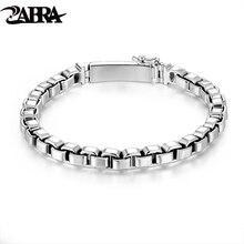 Zabra 925 серебро цепи коробки 6 мм браслет мужские Для женщин тайский серебряный Винтаж Панк ручной работы мужской браслет Femme браслет ювелирные изделия