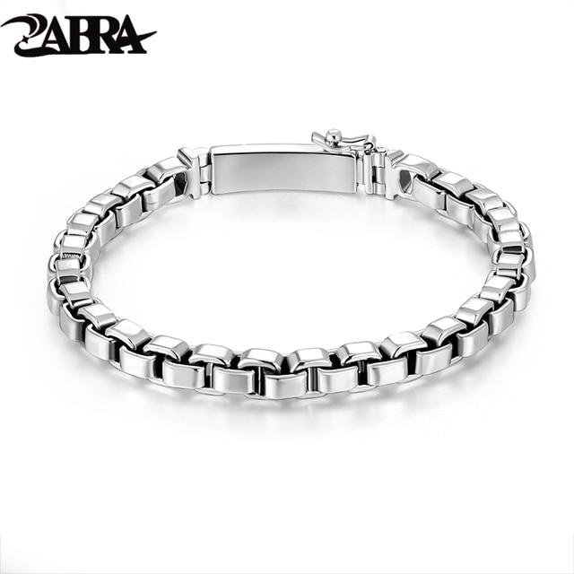 Zabra 925 Sterling Silver Box Chain 6mm Bracelet Mens Women Thai Vintage Punk Handmade Male