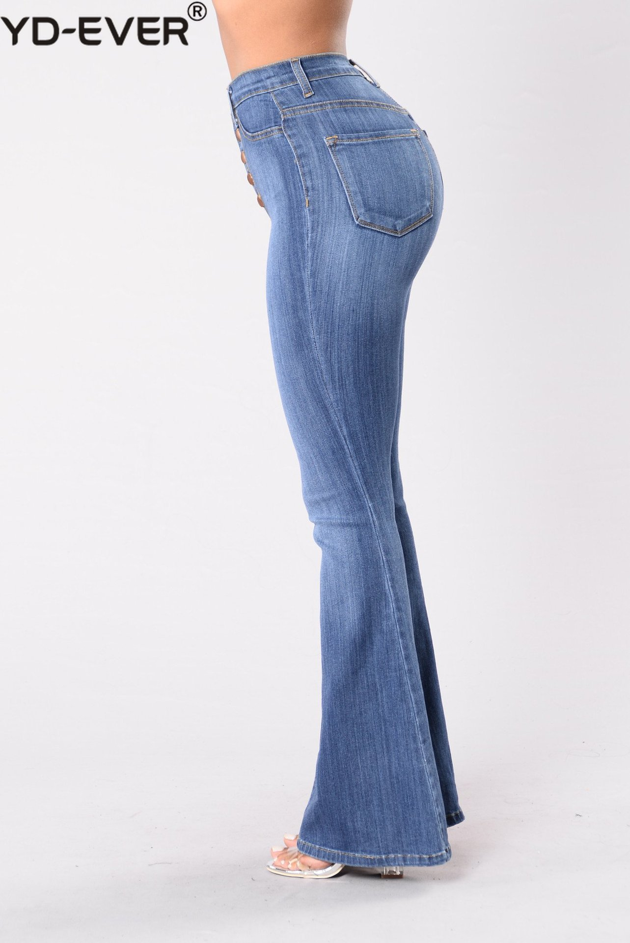 Longitud Completo Jeans Trasero Denim Talle Slim menta Beige Ancha Vintage Flaco De Flare Levantar Pantalón Alto Corte Pierna xqR8wzIpC