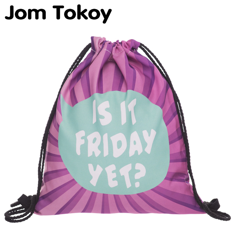 JomTokoy New Fashion Women Drawstring Backpack 3D Printing Travel Softback Women Mochila Drawstring Bags SKD27116