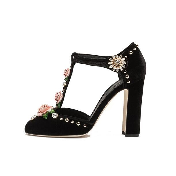 Retro Flower Crystal High Heel Pumps Women T-bar Strap Thick Heel Shoes Round Toe Ankle Strap Velvet Stud High Heel Shoes Spring brand fashion beading crystal solid gladiator pumps thick high heel round toe velvet bird cage party women wedding shoes l0f1