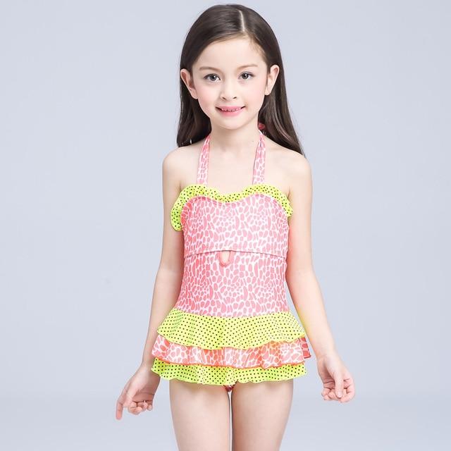 a54ddc0f5b487 2016 new Summer Cute Child Bikini swimsuit swimwear high waisted bathing  suit for kids baby girls Biquini children s swimwear