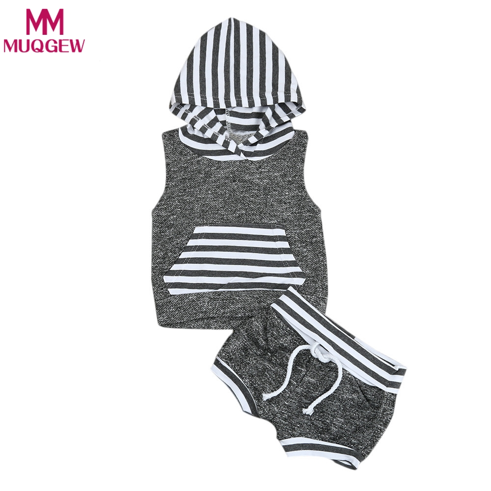 2018 Babies kids Striped Casual Hooded Clothing Set Summer Infant Baby Boy Kid Outfits Clothes Hoodie Vest Tops+Pants 2pcs Set newborn infant baby boy girl clothes hooded vest top short pants outfits set 2pcs suit summer baby boy clothes
