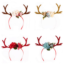 yooap New fashion hot sale small plum blossoms Christmas antlers ear headband DIY deer decorations
