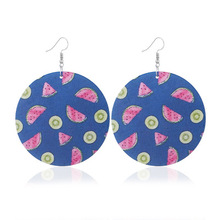 Cross-border women new to restore ancient ways round wooden earrings creative fruit design