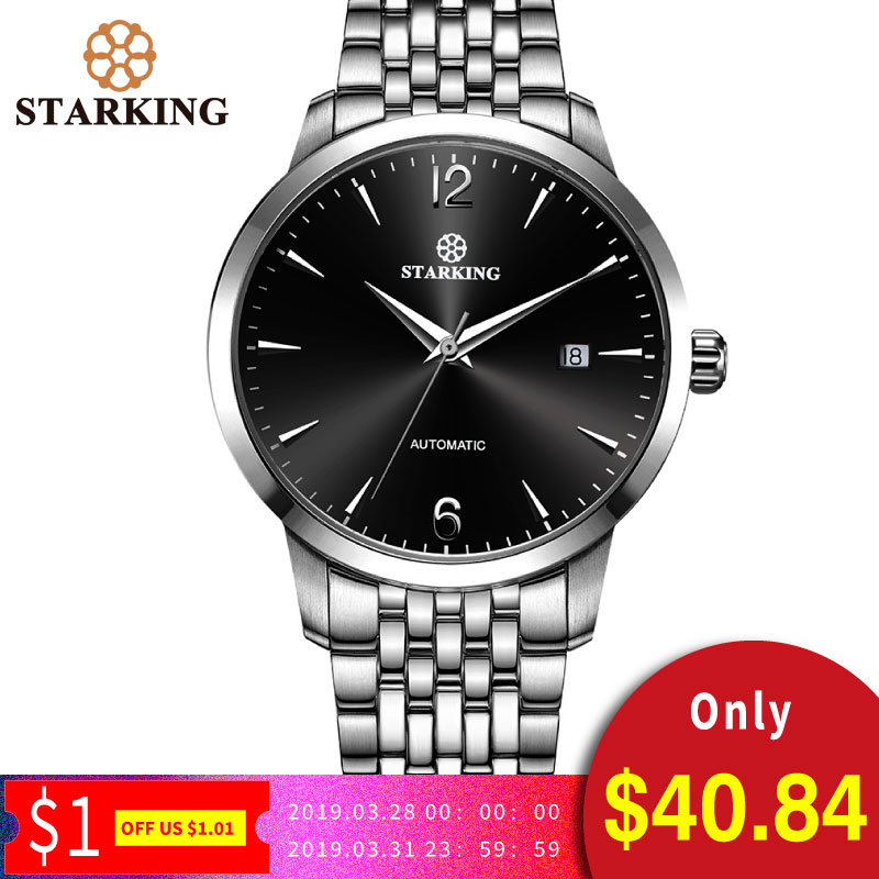 bb94be581 STARKING Watch Men luxury brand fully-automatic wristwatch 50M waterproof  stainless steel men watches gold