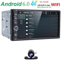 "Auto radio Universal Quad Core 7""Double 2 Din Android 6.0 Car Monitor GPS Navigation+3G wifi Bluetooth Mirror link DVR Rear CAM"