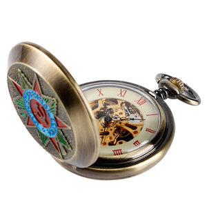Image 4 - Retro Brons Insignia Comunista Mechanische Zakhorloge Sovjet Sikkel Hamer Stijl Skeleton Steampunk Fob Horloges Met Ketting