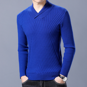 df0052cfbdef5 Sonbahar Erkek Kazak Pamuk Örme Kraliyet mavi Siyah Renk Marka Giyim erkek  Slim Fit Triko Erkek Giyim Kazak