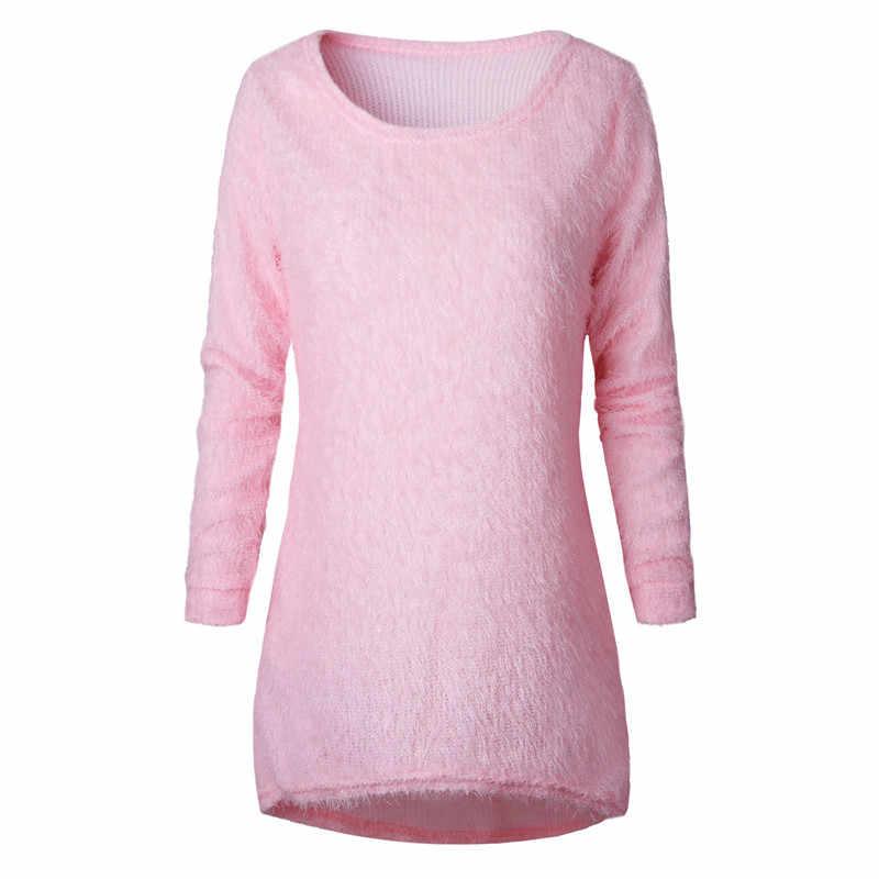סוודרי 2019 סתיו חורף נשים O-צוואר סוודר רופף סרוג גבירותיי סוודר נשי בתוספת גודל מזדמן מוצק צבע קטיפה סוודר