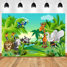 Neoback Forest Jungle Safari Theme Birthday Party Photo Background Photophone Cute Cartoon Animal Baby Shower Backdrop