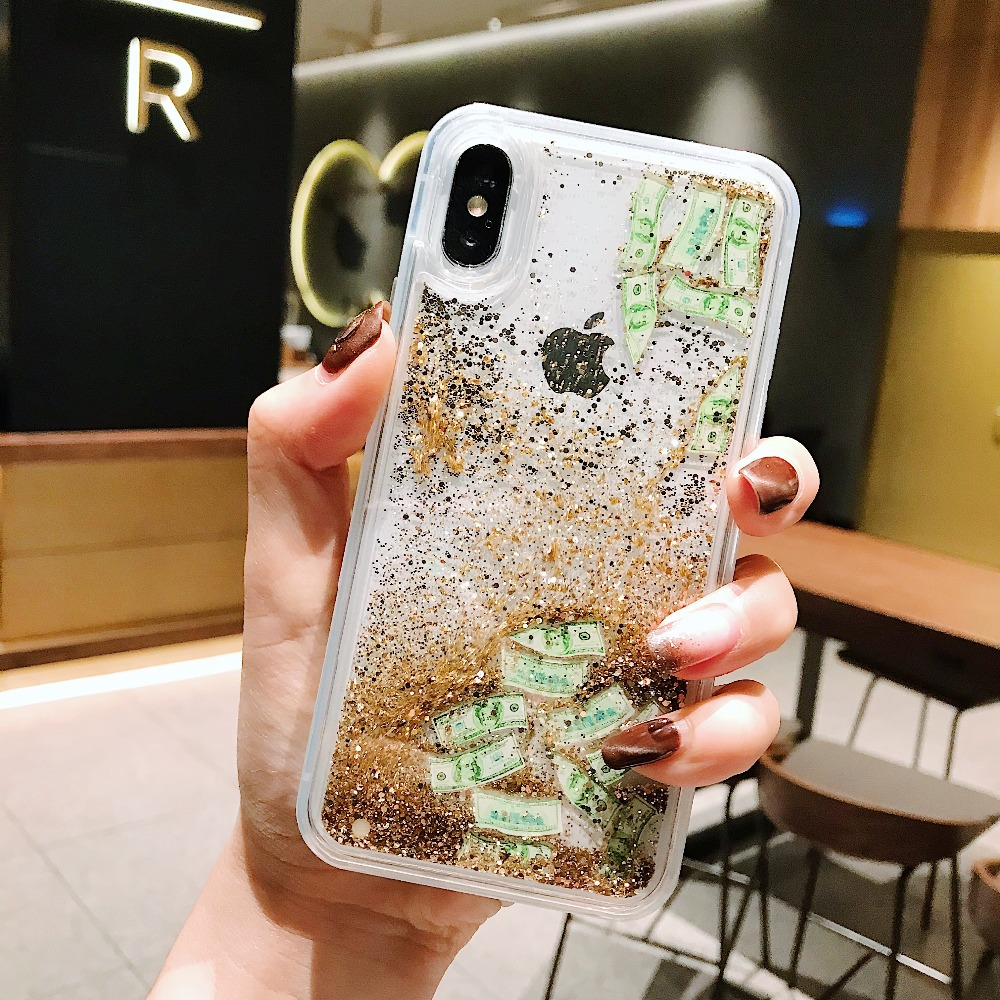 78623f9fb7 US $2.44 20% OFF|Girls Glitter money Liquid Quicksand US dollar Case for  iphone 6 6S 7 8 Plus X 10 Dynamic liquid glitter Transparent Clear Cover-in  ...