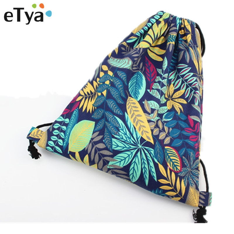 ETya Fashion Flower National Canvas Drawstring Bag Women Vintage College Students School Bags Travel  Storage Package Bag