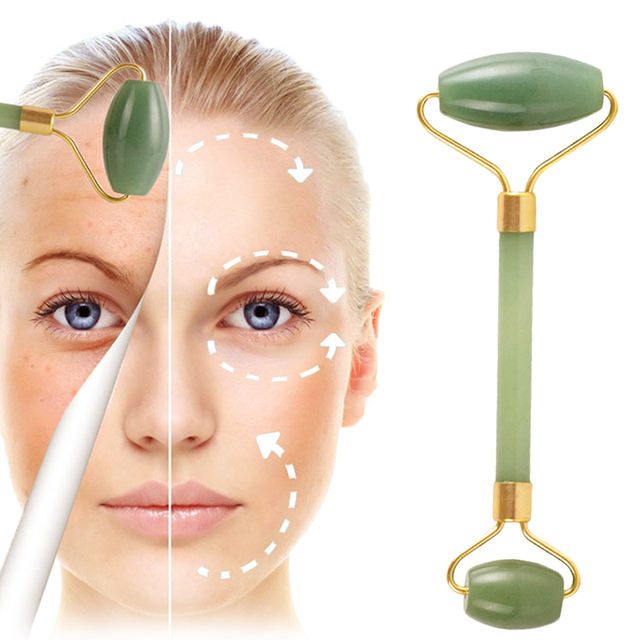 Natural Double Head Facial Massage Roller jade Beauty Tool  4