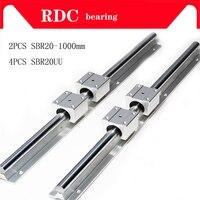 Free shipping 2 pcs SBR20 1000mm linear bearing supported rails+4 pcs SBR20UU bearing blocks,sbr20 length 1000mm for CNC parts