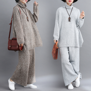Image 2 - Plus Size Women 2 Pieces Pant Sets 2019 New Turtleneck Knitted Sweaters Pullovers and Wide Leg Warm Pant Lady Pant Suits