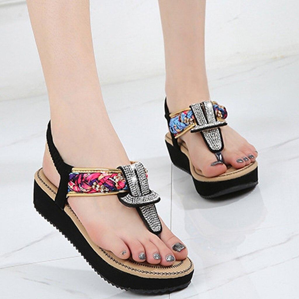 Diamond Sandals Flip-Flops-Slippers Thong Beach-Shoes Rhinestone T-Strap Bohemia Women's