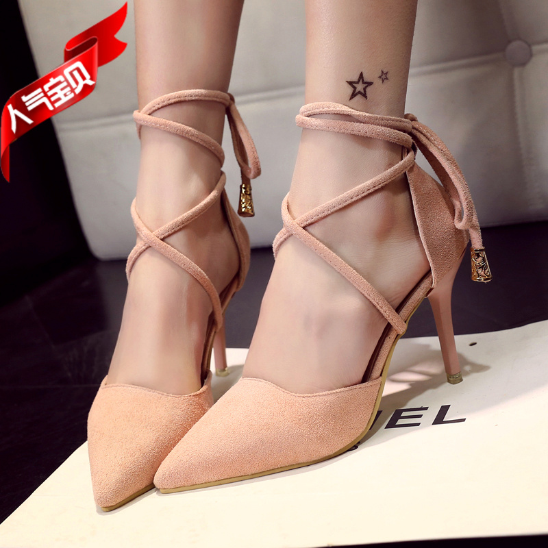 High Quality Brand Pointed Toe Women Pumps Summer Fashion High Heels Shoes Back Strap Thin Heels Pumps Solid Shoes 13