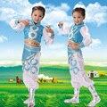 Crianças de Etnia Chinesa Roupas de Dança Menina Dança Mongol Traje Crianças Dança Folclórica Traje 18