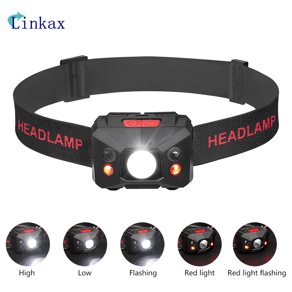 Mini XPE Headlamp USB Rechargeable Headlight 5-Modes White/ Red Light Waterproof Head Light Torch Lanterna Built-in Battery Lamp цена
